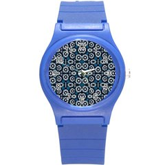 Floral Print Seamless Pattern In Cold Tones  Plastic Sport Watch (small) by dflcprints