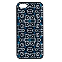 Floral Print Seamless Pattern In Cold Tones  Apple Iphone 5 Seamless Case (black) by dflcprints