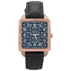 Floral Print Seamless Pattern In Cold Tones  Rose Gold Leather Watch  by dflcprints