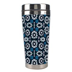 Floral Print Seamless Pattern In Cold Tones  Stainless Steel Travel Tumbler by dflcprints