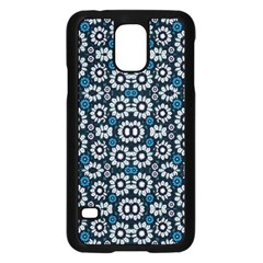 Floral Print Seamless Pattern In Cold Tones  Samsung Galaxy S5 Case (black)