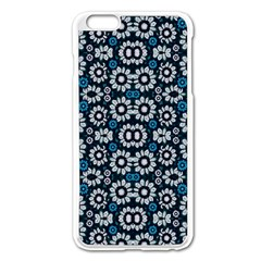 Floral Print Seamless Pattern In Cold Tones  Apple Iphone 6 Plus Enamel White Case by dflcprints