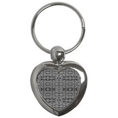 Cyberpunk Silver Print Pattern  Key Chain (heart) by dflcprints