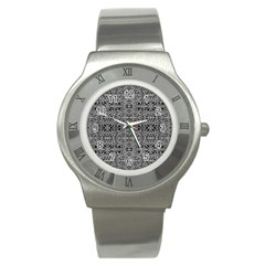 Cyberpunk Silver Print Pattern  Stainless Steel Watch (slim) by dflcprints