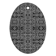 Cyberpunk Silver Print Pattern  Oval Ornament (two Sides) by dflcprints