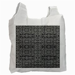 Cyberpunk Silver Print Pattern  White Reusable Bag (one Side) by dflcprints