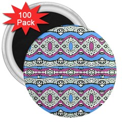 Aztec Style Pattern In Pastel Colors 3  Button Magnet (100 Pack) by dflcprints