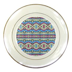 Aztec Style Pattern In Pastel Colors Porcelain Display Plate by dflcprints