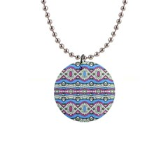 Aztec Style Pattern In Pastel Colors Button Necklace by dflcprints
