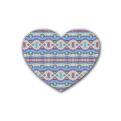 Aztec Style Pattern In Pastel Colors Drink Coasters (heart) by dflcprints