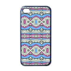 Aztec Style Pattern In Pastel Colors Apple Iphone 4 Case (black) by dflcprints