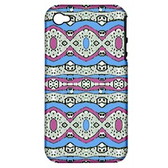 Aztec Style Pattern In Pastel Colors Apple Iphone 4/4s Hardshell Case (pc+silicone) by dflcprints