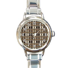 Geometric Tribal Style Pattern In Brown Colors Scarf Round Italian Charm Watch by dflcprints
