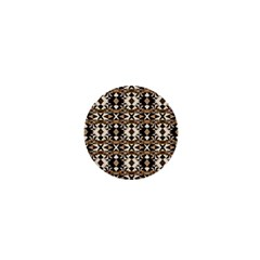 Geometric Tribal Style Pattern In Brown Colors Scarf 1  Mini Button Magnet by dflcprints