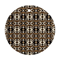 Geometric Tribal Style Pattern In Brown Colors Scarf Round Ornament by dflcprints