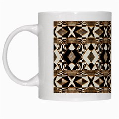 Geometric Tribal Style Pattern In Brown Colors Scarf White Coffee Mug by dflcprints