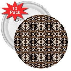 Geometric Tribal Style Pattern In Brown Colors Scarf 3  Button (10 Pack) by dflcprints
