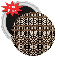 Geometric Tribal Style Pattern In Brown Colors Scarf 3  Button Magnet (100 Pack) by dflcprints