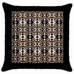 Geometric Tribal Style Pattern In Brown Colors Scarf Black Throw Pillow Case by dflcprints