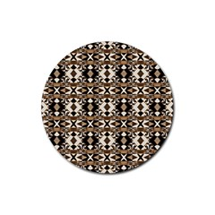 Geometric Tribal Style Pattern In Brown Colors Scarf Drink Coasters 4 Pack (round) by dflcprints