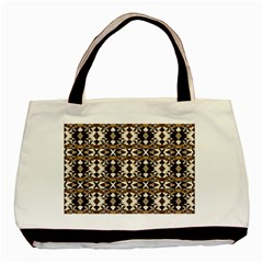 Geometric Tribal Style Pattern In Brown Colors Scarf Twin Sided Black Tote Bag by dflcprints