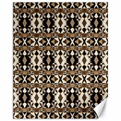 Geometric Tribal Style Pattern In Brown Colors Scarf Canvas 11  X 14  (unframed) by dflcprints