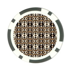 Geometric Tribal Style Pattern In Brown Colors Scarf Poker Chip by dflcprints