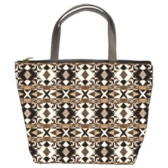 Geometric Tribal Style Pattern In Brown Colors Scarf Bucket Handbag by dflcprints