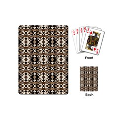 Geometric Tribal Style Pattern In Brown Colors Scarf Playing Cards (mini) by dflcprints