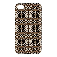 Geometric Tribal Style Pattern In Brown Colors Scarf Apple Iphone 4/4s Hardshell Case by dflcprints