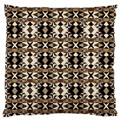 Geometric Tribal Style Pattern In Brown Colors Scarf Large Cushion Case (two Sided)  by dflcprints