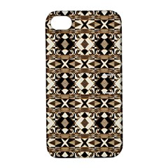 Geometric Tribal Style Pattern In Brown Colors Scarf Apple Iphone 4/4s Hardshell Case With Stand by dflcprints