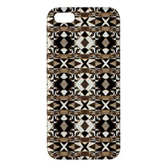 Geometric Tribal Style Pattern In Brown Colors Scarf Apple Iphone 5 Premium Hardshell Case by dflcprints