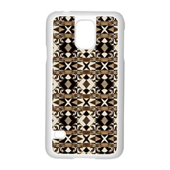 Geometric Tribal Style Pattern In Brown Colors Scarf Samsung Galaxy S5 Case (white) by dflcprints