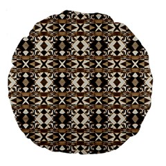 Geometric Tribal Style Pattern In Brown Colors Scarf 18  Premium Flano Round Cushion  by dflcprints