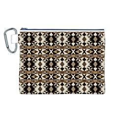 Geometric Tribal Style Pattern In Brown Colors Scarf Canvas Cosmetic Bag (large) by dflcprints