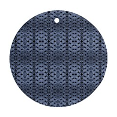 Futuristic Geometric Pattern Design Print In Blue Tones Round Ornament (two Sides) by dflcprints