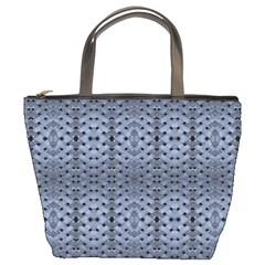Futuristic Geometric Pattern Design Print In Blue Tones Bucket Handbag by dflcprints