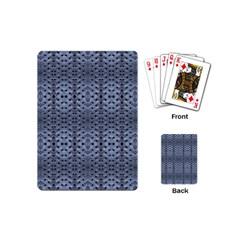 Futuristic Geometric Pattern Design Print In Blue Tones Playing Cards (mini) by dflcprints
