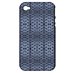Futuristic Geometric Pattern Design Print In Blue Tones Apple Iphone 4/4s Hardshell Case (pc+silicone) by dflcprints