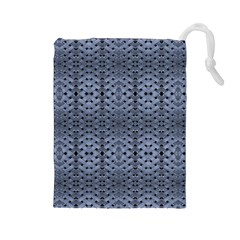 Futuristic Geometric Pattern Design Print In Blue Tones Drawstring Pouch (large) by dflcprints