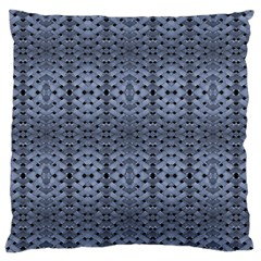 Futuristic Geometric Pattern Design Print in Blue Tones Large Flano Cushion Case (Two Sides) by dflcprints