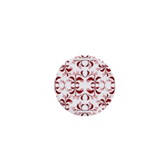 Floral Print Modern Pattern In Red And White Tones 1  Mini Button Magnet by dflcprints