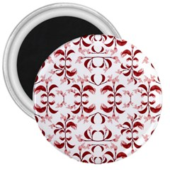 Floral Print Modern Pattern In Red And White Tones 3  Button Magnet by dflcprints