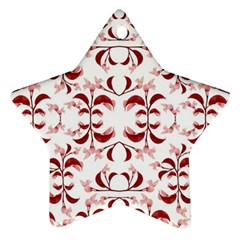 Floral Print Modern Pattern In Red And White Tones Star Ornament by dflcprints