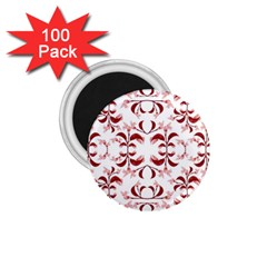 Floral Print Modern Pattern In Red And White Tones 1 75  Button Magnet (100 Pack) by dflcprints