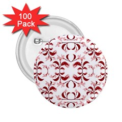 Floral Print Modern Pattern In Red And White Tones 2 25  Button (100 Pack) by dflcprints