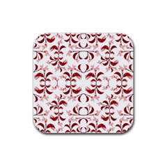 Floral Print Modern Pattern In Red And White Tones Drink Coaster (square) by dflcprints
