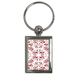 Floral Print Modern Pattern In Red And White Tones Key Chain (rectangle) by dflcprints