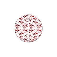 Floral Print Modern Pattern In Red And White Tones Golf Ball Marker by dflcprints